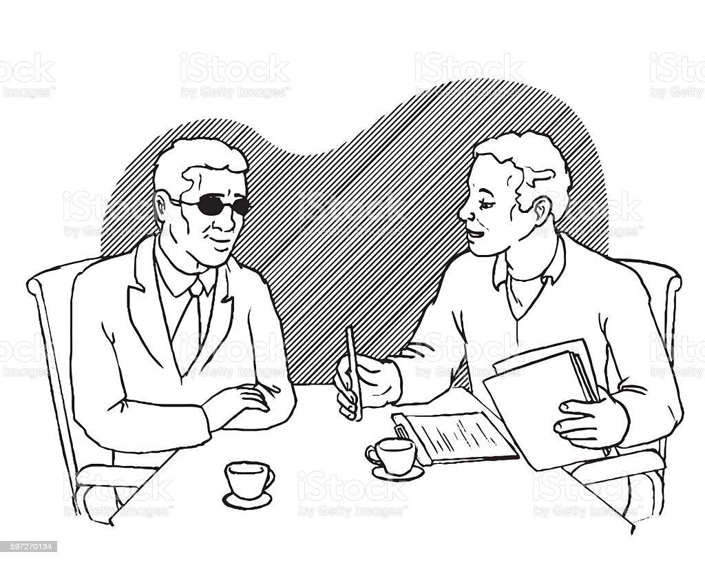 Blind man at a job interview vector art illustration