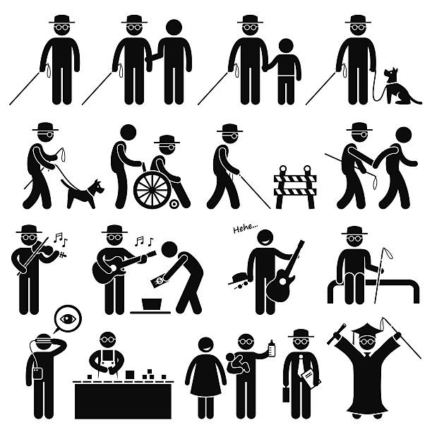 blind man handicap stick figure pictogram icons - arbeitshunde stock-grafiken, -clipart, -cartoons und -symbole