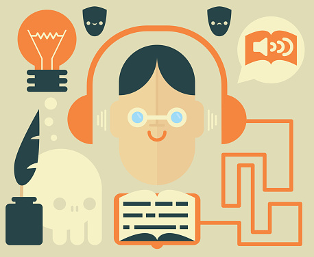 Blind Man Listens to Audiobook