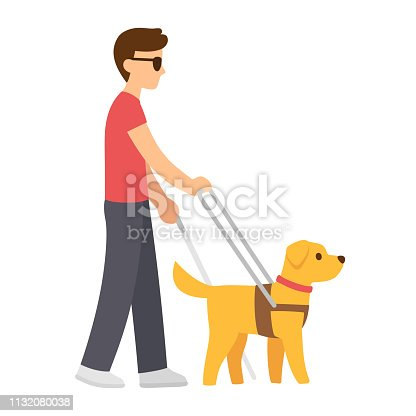 Cartoon blind man with cane and guide dog. Walking with Seeing Eye dog vector illustration.