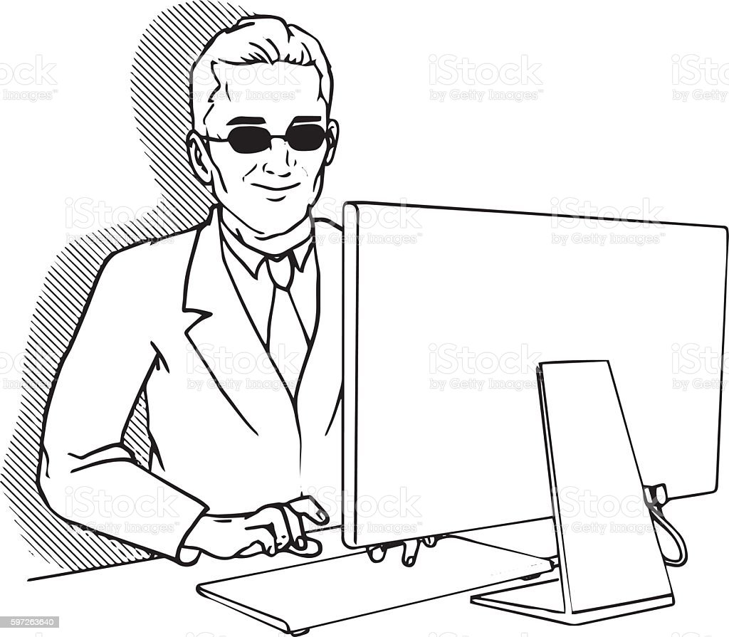 Blind man working on a computer vector art illustration