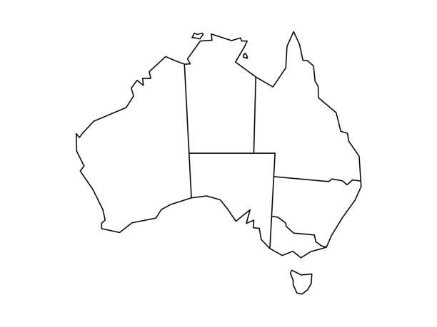 ilustraciones, imágenes clip art, dibujos animados e iconos de stock de mapa ciego de australia - australia