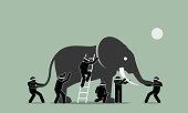 Blind men touching an elephant.