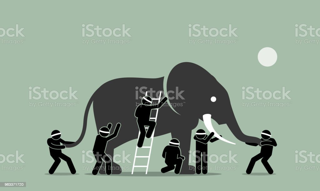 Blind men touching an elephant. vector art illustration
