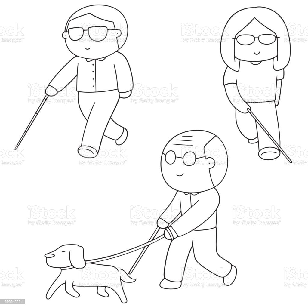 blind people vector art illustration