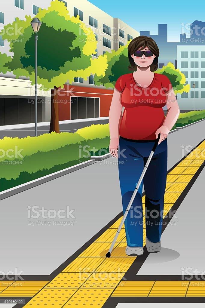 Blind People Walking on Sidewalk vector art illustration