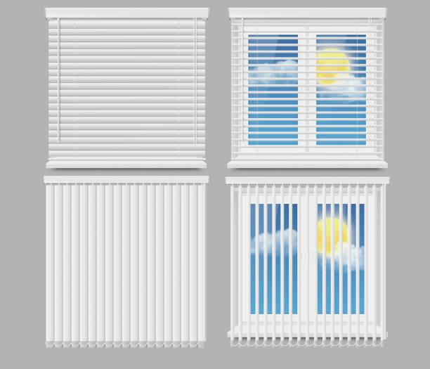 zasłony okienne niewidome wektor realistyczny zestaw makiety - store stock illustrations