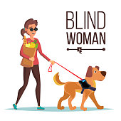 Blind Woman Vector. Person With Pet Dog Companion. Blind Female In Dark Glasses And Guide Dog Walking. Isolated Cartoon Character Illustration