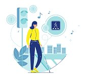 Blind woman with cane crossing street at crosswalk and the lights with accessible pedestrian signals or melody, flat vector illustration. Traffic safety for blind people. Barrier free environment.