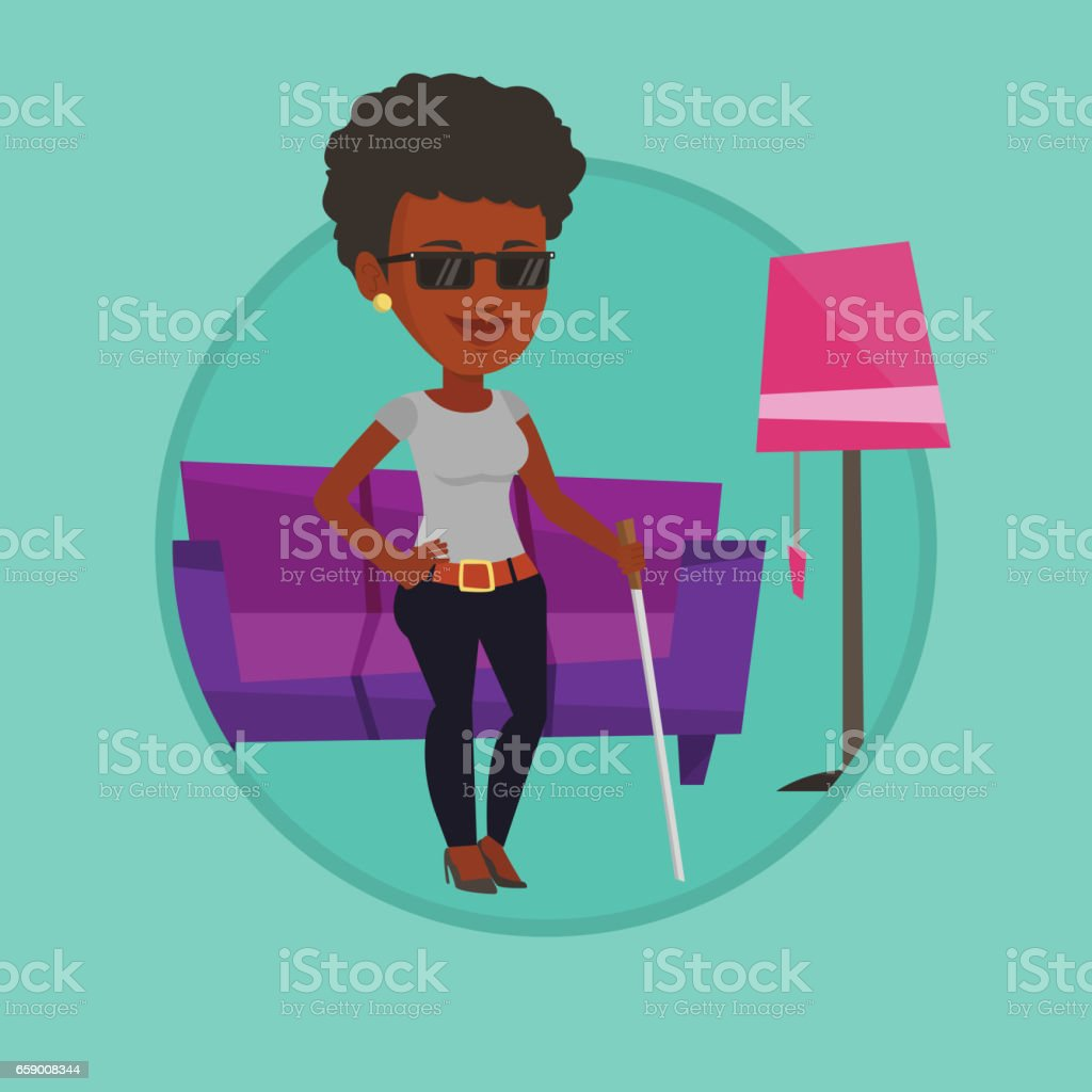 Blind woman with stick vector illustration royalty-free blind woman with stick vector illustration stock vector art & more images of apartment
