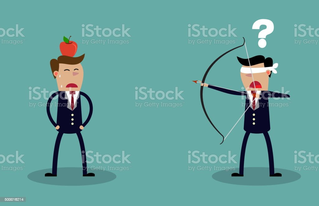 Blindfold businessman aiming to shoot at apple vector art illustration