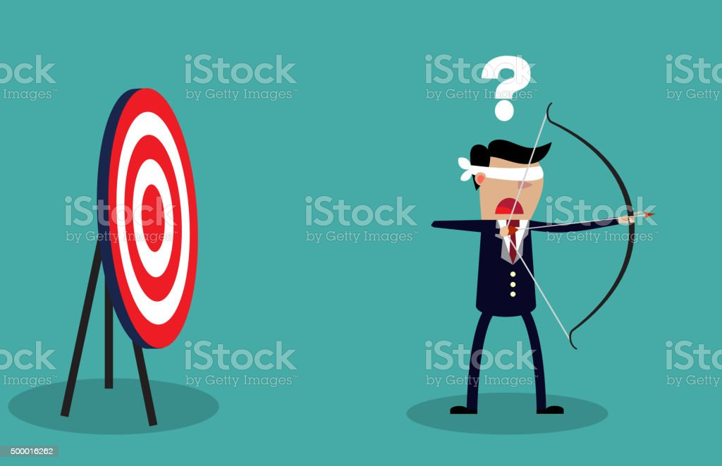 Blindfold businessman look for target vector art illustration
