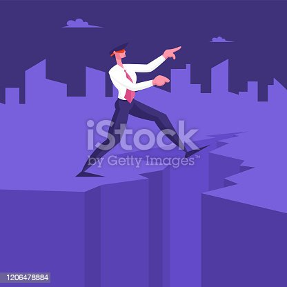 Blindfold Businessman Step into Abyss. Leap of Faith Concept with Business Man Walks Off the Cleft Searching Path near Deep Precipice. Business Risk and Bankruptcy Cartoon Flat Vector Illustration