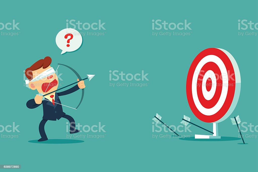 blindfolded businessman shooting arrow vector art illustration