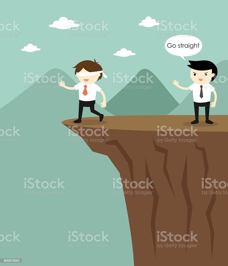 Blindfolded businessman walking to cliff because another businessman fooled him. blindfolded businessman walking to cliff because another businessman fooled him - arte vetorial de stock e mais imagens de adulto royalty-free