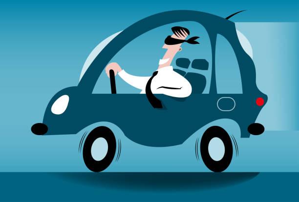 Blindfolded driver A blindfolded driver. careless stock illustrations