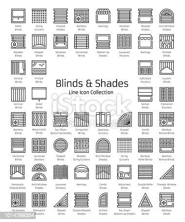 Blinds & Shades. Sun protection. Room darkening & light blocking  jalousies. Interior shutters & panel curtains. Home decorative elements. Window coverings. Line icon collection.