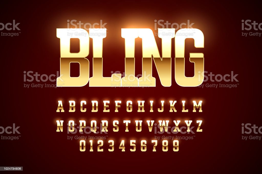 Bling Bling style gold font design vector art illustration