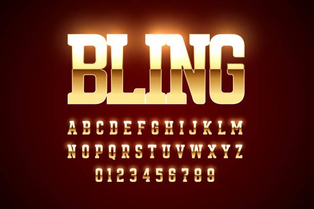 ilustrações de stock, clip art, desenhos animados e ícones de bling bling style gold font design - consumo exibicionista