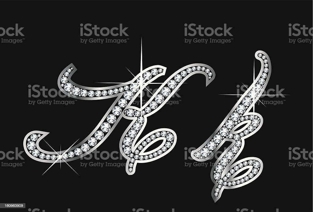 Bling K and k script set in diamonds and silver vector art illustration