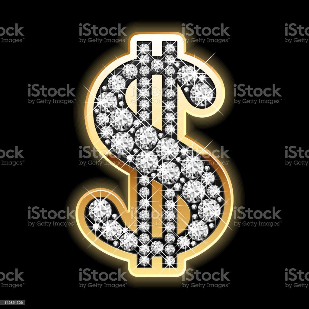 Bling-bling. Dollar symbol in diamonds. vector art illustration