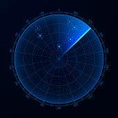 Blip. Target detection on the radar screen. Vector illustration