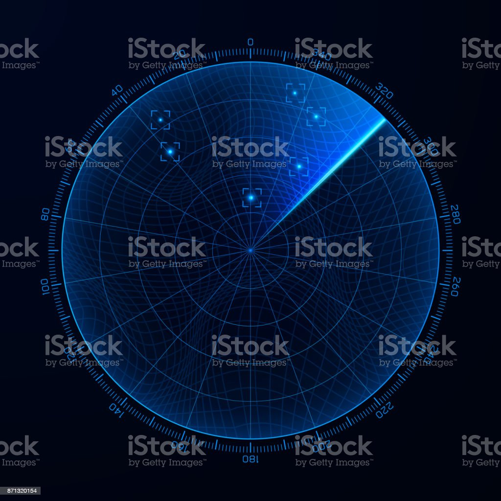 Blip. Target detection on the radar screen. Vector illustration vector art illustration