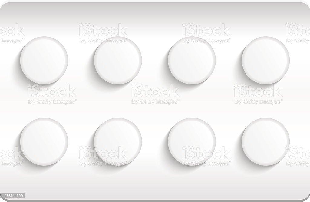 Blister pack of pills isolated on white background. EPS10 vector art illustration