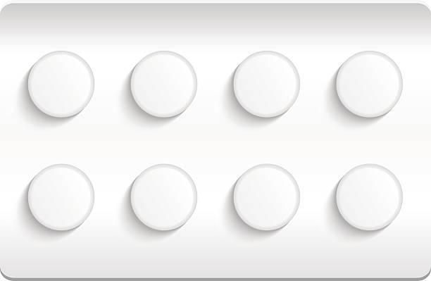 stockillustraties, clipart, cartoons en iconen met blister pack of pills isolated on white background. eps10 - doordrukstrip