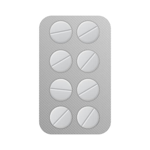 stockillustraties, clipart, cartoons en iconen met blisterverpakking met tabletten - doordrukstrip