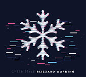 Glitch effect vector icon illustration of blizzard warning with abstract background.