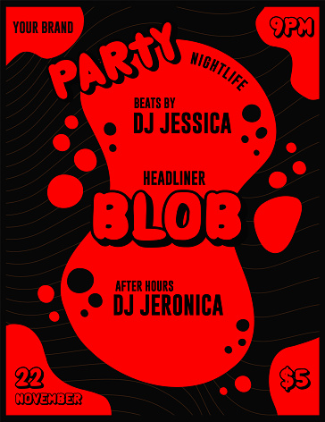 Blob Nightclub Party DJ or Musician Lineup Event Poster and Flyer Template with Splash of Red on Black Background
