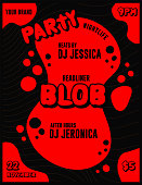 istock Blob Nightclub Party DJ or Musician Lineup Event Poster and Flyer Template with Splash of Red on Black Background 1287731260