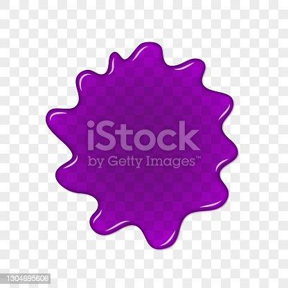 istock Blob transparent splash on checked background. 1304695606