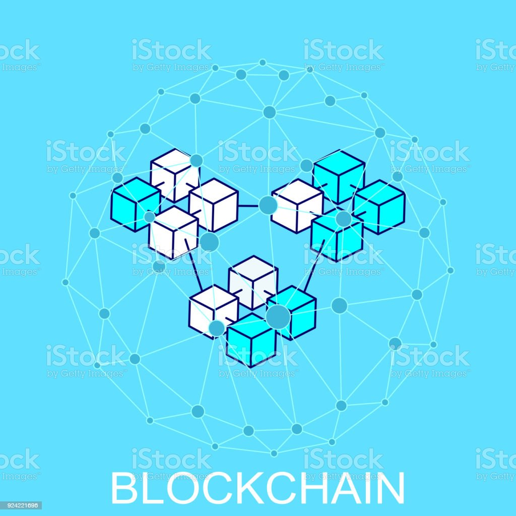 Block chain concept. Abstract network connection. vector art illustration