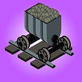 Block chain crypto currency mining. Minecart on rails with coins. Concept of fintech or cryptography. Virtual payment or distributed wallet. Symbol of result or junk. Monochrome isometric 3D art