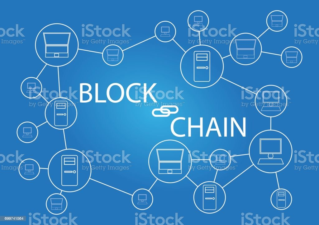 Block chain technology - background wallpaper vector art illustration