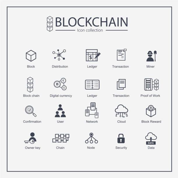 stockillustraties, clipart, cartoons en iconen met blok keten web pictogrammenset. informatiepictogram, analytics, cloud computing, blok keten, blokkeren, distributie, ledger, transactie pictogram blockchain pictogram minimaal ontwerp. blok gegevens verbinden. - bitcoin