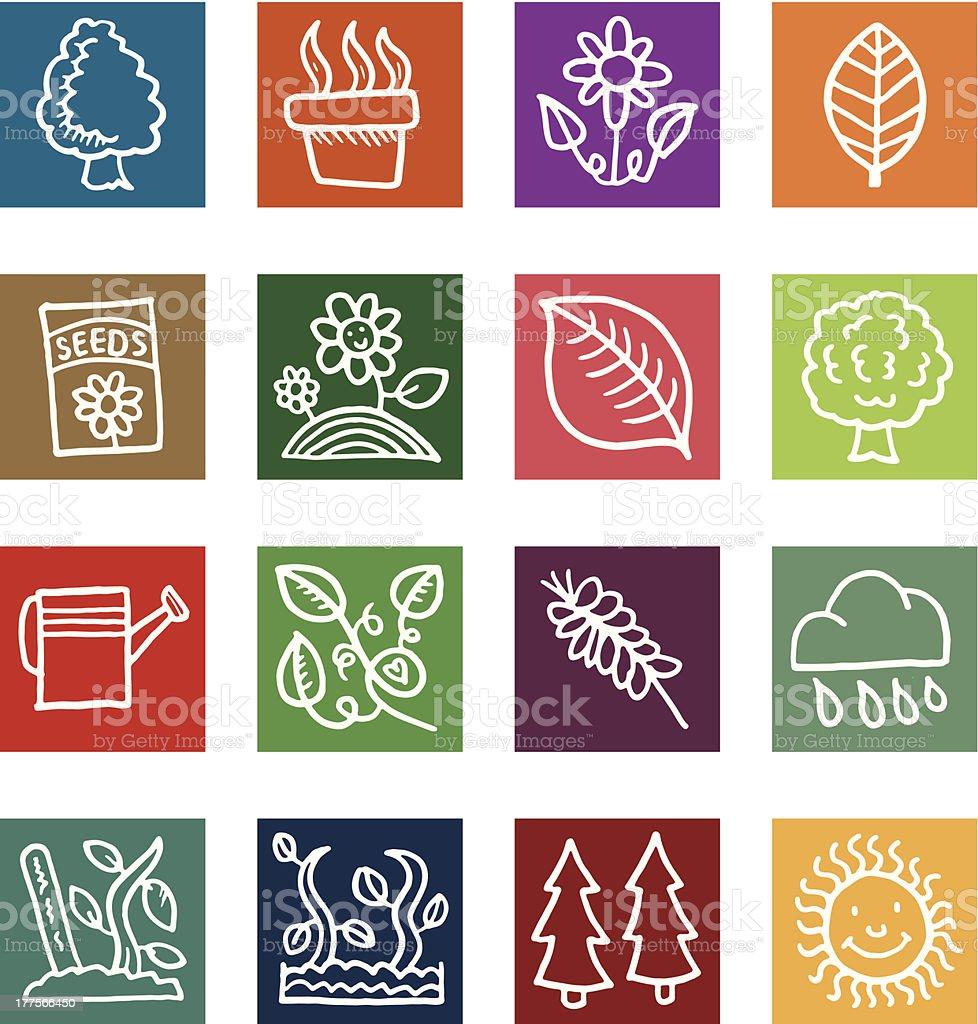 Block icon set - Nature and plants vector art illustration