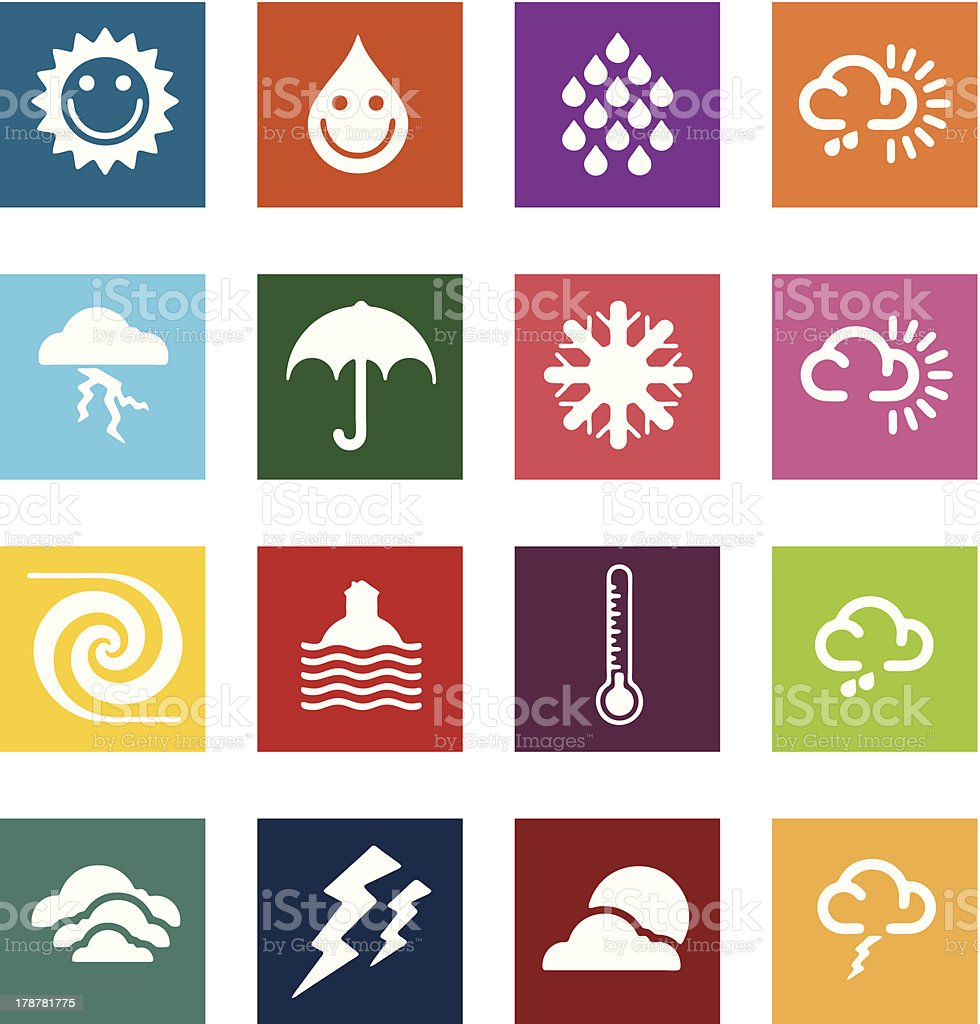 Block icon sets - Weather elements royalty-free block icon sets weather elements stock vector art & more images of block shape