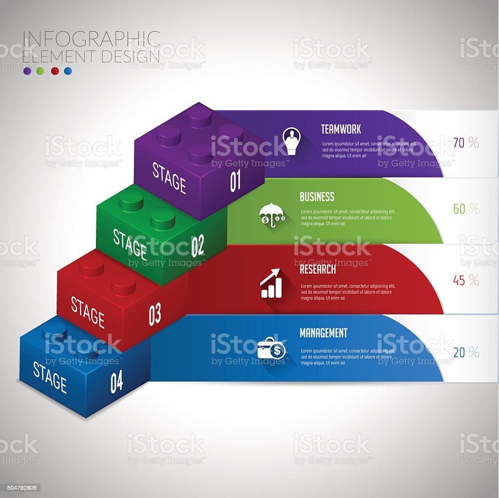 Block infographic concept teamwwork. vector art illustration