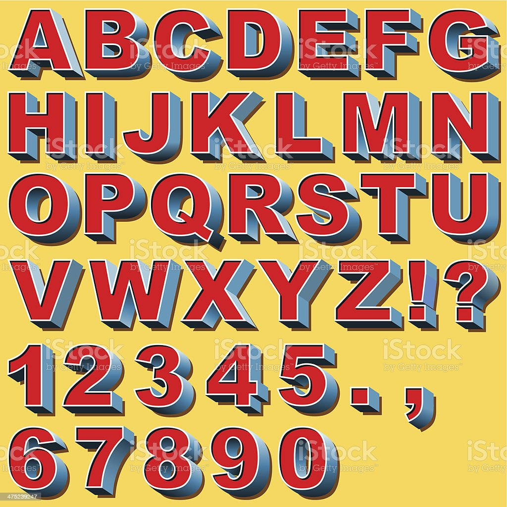 3D Block Letters vector art illustration