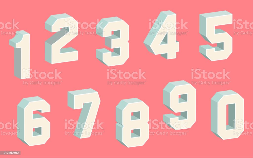 3D Block Numbers vector art illustration