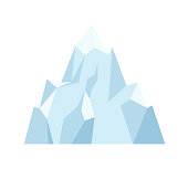 Block of ice isolated on the white background. Vector Illustration.