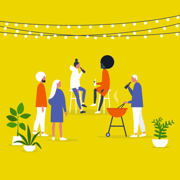 Block party. Garden. Backyard. String lights and plants. Outdoor. Millennial lifestyle. Gather together. Friends. Flat editable vector illustration, clip art Block party. Garden. Backyard. String lights and plants. Outdoor. Millennial lifestyle. Gather together. Friends. Flat editable vector illustration, clip art alcohol drink silhouettes stock illustrations