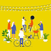 Block party. Garden. Backyard. String lights and plants. Outdoor. Millennial lifestyle. Gather together. Friends. Community. Flat editable vector illustration, clip art