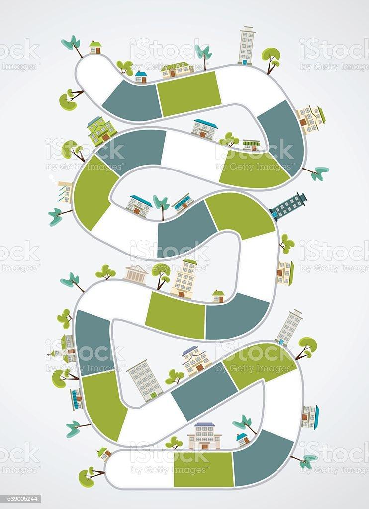 block path on the city向量藝術插圖