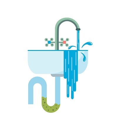 Blockage of pipe. Water flows from the sink. Sink in the bathroom or kitchen. Broken sewer system. Vector illustration in a flat style. Illustration on an isolated background in cartoon style.