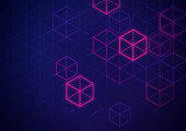 Blockchain and cryptocurrency dark isometric cubes background.