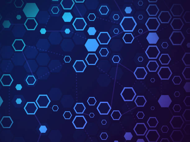 Blockchain Abstract Background Blockchain abstract background connection digital data. validation stock illustrations